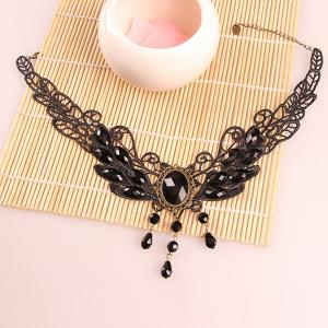 Vintage Hollow Out Faux Crystal Water Drop Accessories Necklace -