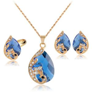 A Suit of Retro Rhinestone Faux Crystal Peacock Necklace Ring and Earrings - Blue