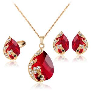 A Suit of Retro Rhinestone Faux Crystal Peacock Necklace Ring and Earrings - Red