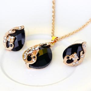 A Suit of Retro Rhinestone Faux Crystal Peacock Necklace Ring and Earrings - BLACK