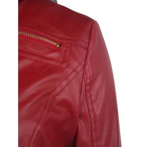 Faux Twinset PU Leather Double Zipper Hooded Jacket - WINE RED M