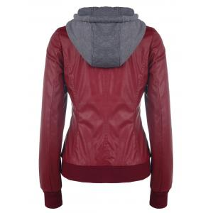 Chic Hooded Long Sleeve Faux Twinset Pocket Design Women's Jacket - WINE RED L