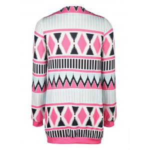 Trendy Collarless Long Sleeve Geometric Print Women's Cardigan - BLUE AND PINK S