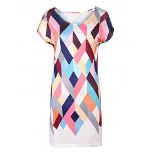 Stylish Round Neck Short Sleeve Argyle Print Women's Dress