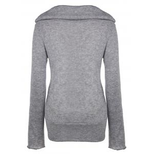 Casual Style Heaps Collar Long Sleeve Pure Color Women's Jumper - DEEP GRAY L