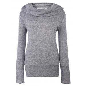 Casual Style Heaps Collar Long Sleeve Pure Color Women's Jumper - Deep Gray - M