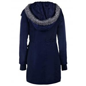 Stylish Hooded Long Sleeve Zippered Faux Fur Embellished Women's Coat - BLUE L