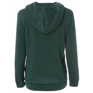 Long Sleeve Pockets Inclined Zipper Pullover Hoodie - GREEN M