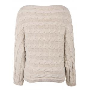 Off White One Size Slash Neck Cable Knit Jumper Sweater | RoseGal.com