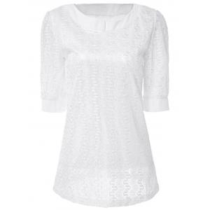 Sweet Scoop Neck Solid Color 1/2 Sleeve Lace Women's T-Shirt - White - Xl