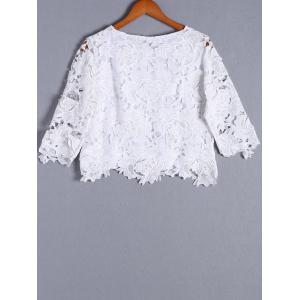 Stylish 3/4 Sleeve Blossom Pattern Openwork Round Neck Top For Women -
