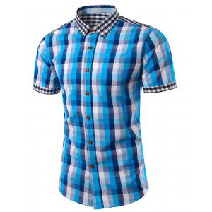 Slimming Turn Down Collar Plaid Short Sleeves Shirts For Men