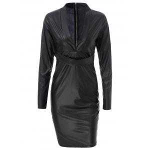 Plunging Neck Faux Leather Long Sleeve Bandage Dress -