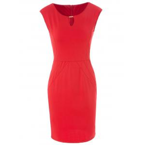 Stylish Keyhole Neck Solid Color Bodycon Sleeveless Women's Dress