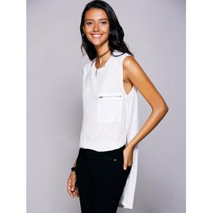 Casual Jewel Neck Slit High Low Top For Women - WHITE L