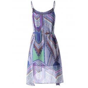 Bohemian Spaghetti Straps Belt Dress For Women - COLORFUL GEOMETRIC M