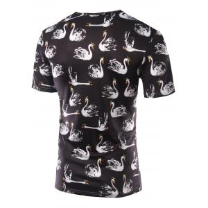 Slimming Swan Printing Round Collar Short Sleeves T-Shirts For Men - BLACK L