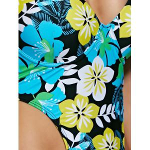 Sweet Halter Neck Floral Print Women's One-Piece Swimwear - YELLOW L