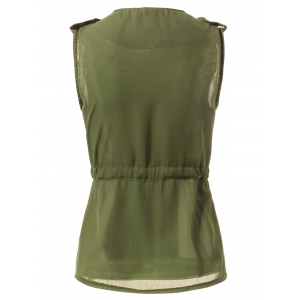 Stylish Turn-Down Collar Solid Color Chiffon Waistcoat For Women - ARMY GREEN L