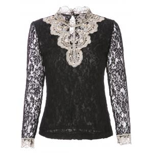 Beaded Lace Long Sleeve Top - Black - S