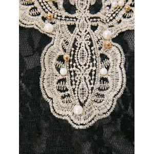 Beaded Lace Long Sleeve Top - BLACK S