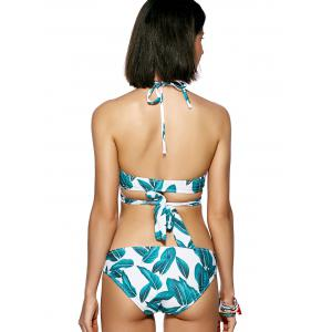Leaf Print Halter Neck Wrap Bikini Set -