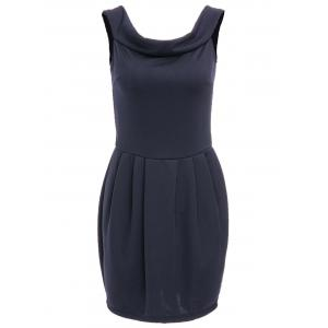Chic Boat Neck Solid Color Zippered Dress For Women