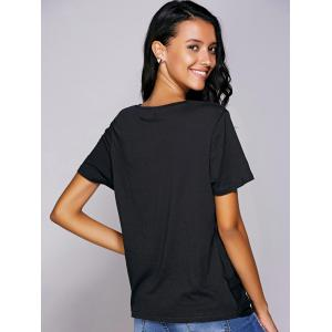 Casual Round Neck Black Knot T-Shirt For Women - BLACK L