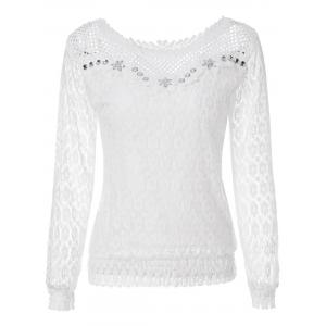 Stylish Scoop Neck Long Sleeve Openwork Blouse For Women - White - L