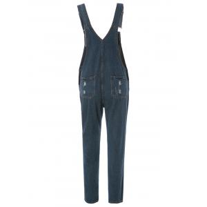 Street Style Destroy Wash Slimming Denim Overalls For Women -