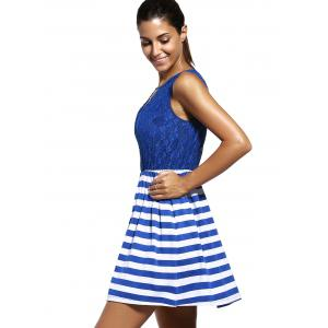 Sweet Sleeveless Lace Spliced Cut Out Striped Dress For Women -