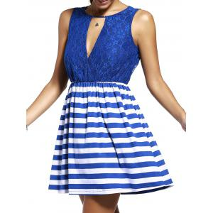 Sweet Sleeveless Lace Spliced Cut Out Striped Dress For Women