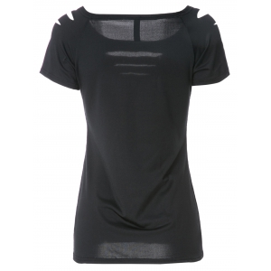 Solid Color Scoop Neck Short Sleeve Elastic Women's T-Shirt - BLACK M