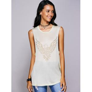 Rhinestone Drop Armhole Long Tank Top - BEIGE L