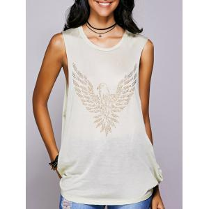 Rhinestone Drop Armhole Long Tank Top - Beige - S