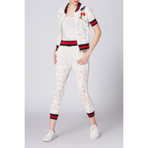 Zippered Hit Color T-Shirt and Lace Narrow Feet Pants -