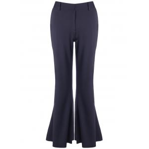 Skinny Bell Bottom Stretchy Trousers - Black - M