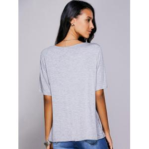 Casual Plunging Neck Solid Color Wrap T-Shirt For Women - GRAY L
