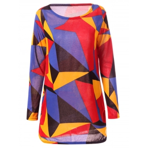 Casual Long Sleeve Round Neck Geometric Print Women's T-Shirt - Colorful - L