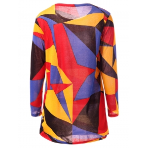 Casual Long Sleeve Round Neck Geometric Print Women's T-Shirt - COLORFUL L