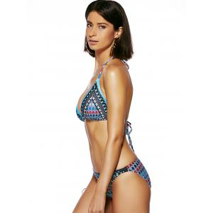 Chic Women's Halter Backless Print Bikini - LAKE BLUE 2XL
