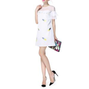 Flounced Gauze Spliced Dress -