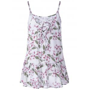 Elegant Chiffon Printing Spaghetti Straps Top For Women - COLORFUL L