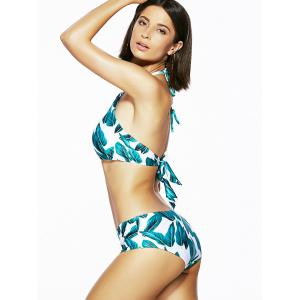 Chic Women's Halter Backless Leaf Print Bikini -