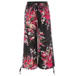 Ethnic Style Elastic Waist High-Waisted Printed Spliced Women's Pants -