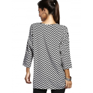 Chic Jewel Neck Zigzag Stripe 3/4 Sleeve T-Shirt For Women - STRIPE M