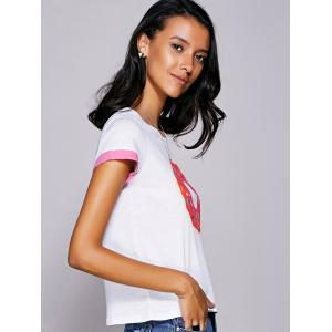 Casual Jewel Neck Printed Tee For Women - WHITE S