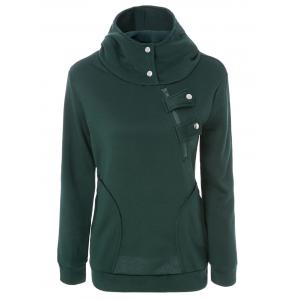 Long Sleeve Pockets Inclined Zipper Pullover Hoodie - Green - L