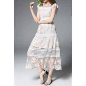 Frilled Lace Patchwork Prom Dress -