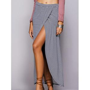 Striped Maxi Skirt With High Slit - BLUE S